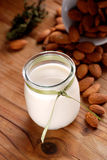 Almond milk in the jar Royalty Free Stock Photo