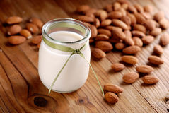 Almond milk in the jar Royalty Free Stock Images