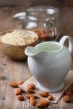 Almond milk in the jug of milk Stock Images