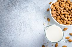 Almond milk in a milk pitcher. With almond nuts on a light stone background. Top view, horizontal image, copy space Stock Image