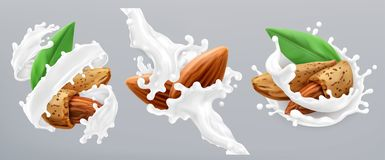 Almond and milk splash. 3d vector icon stock illustration