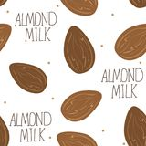 Almond milk - vector set of design elements and pattern for packaging background. In linear style Stock Images
