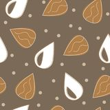 Almond milk - vector set of design elements and pattern for packaging background. In linear style Stock Image