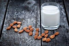 Almond milk, vegan healthcare drink Stock Image