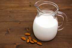 Almond milk on wood Royalty Free Stock Photography