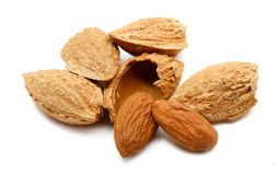 Almond. Natural, food. Composition from Almond nuts on the white  background Stock Images