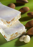 Almond Nougat. On green background Royalty Free Stock Image