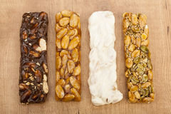 Almond nougat and honey and chocolate turron bars Royalty Free Stock Images