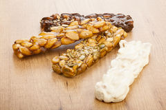 Almond nougat and honey and chocolate turron bars Stock Images