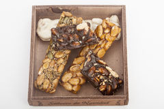 Almond nougat and honey and chocolate turron bars Royalty Free Stock Photography