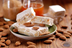 Almond nougat pieces Royalty Free Stock Images