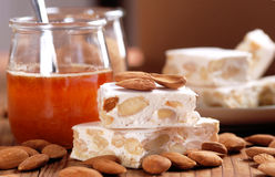 Almond nougat pieces Stock Images