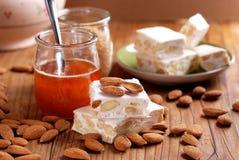 Almond nougat pieces Royalty Free Stock Photos