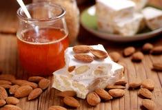 Almond nougat pieces Stock Image