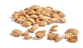 Free Almond Nut In Shell And Shelled Isolated On White Background Close Up Stock Image - 91716301