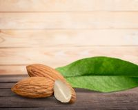 Almond Nut. Isolated Nature Ingredient Food Leaf Plant Stock Photos