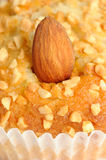Almond on Nut Muffin Close-Up Royalty Free Stock Image