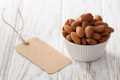 Almond nut organic healthy snack vegan vegetarian white background Royalty Free Stock Image