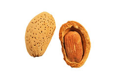 Almond nut in shell and shelled stock images