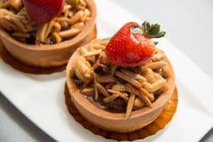 Almond nut tart on top Stock Photos