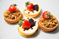 Almond nut tart on top fresh strawberry and blueberry cheese Royalty Free Stock Image