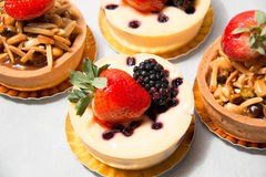 Almond nut tart on top fresh strawberry and blueberry cheese Royalty Free Stock Photo