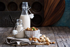 Almond nut vegan milk. Non dairy in different bottles with copy space Stock Image