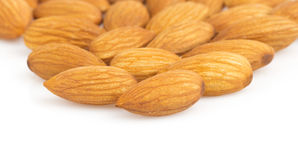 Almond nut on white Royalty Free Stock Images