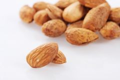 Almond nuts. On white background Royalty Free Stock Image