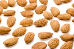 Almond nuts. On a white background Stock Photos
