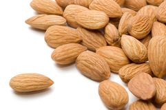 Almond nuts. On a white background Stock Images