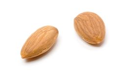 Almond nuts. On a white background Royalty Free Stock Images