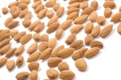 Almond nuts. On a white background Stock Image