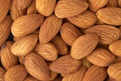 Almond nuts. Texture as background Stock Photos