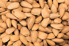 Almond nuts background stock images