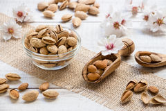 Almond nuts in bowl and almond flowers in the frame. Royalty Free Stock Images