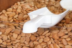 Almond nuts on the counter of the store with scoop for typing stock photography