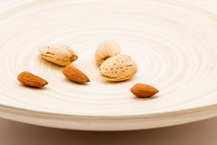 Almond Nuts On A Dish Stock Images