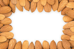 Almond nuts frame, clipping path. Stock Image