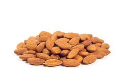 Almond nuts isolated. On the white background Stock Image
