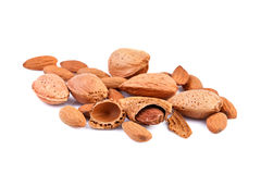Almond Nuts isolated on white Royalty Free Stock Photo