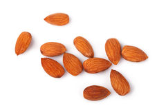 Almond nuts isolated on white background Royalty Free Stock Photos