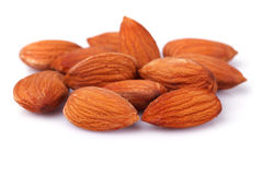Almond nuts isolated on white background Royalty Free Stock Images