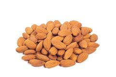 Almond nuts isolated on the white. Background Stock Photography