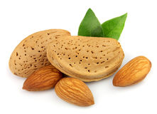 Almond nuts with leafs Royalty Free Stock Photo