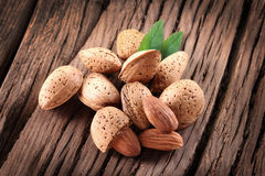 Almond nuts with leaves. Stock Image