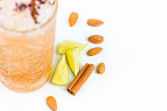 Almond nuts and lime Royalty Free Stock Photography