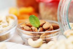 Almond nuts with mint Royalty Free Stock Images