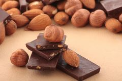 Almond nuts and pieses of chocolate Stock Photography