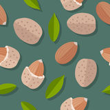 Almond Nuts Seamless Pattern Stock Images